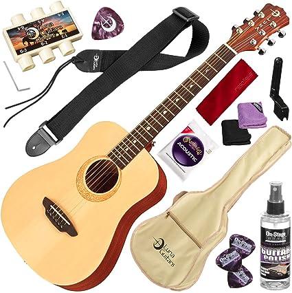 Luna Safari - Guitarra acústica de viaje, tamaño 3/4, con kit ...