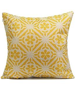 Amesii Copricuscino in cotone e lino, stile vintage, con stampa geometrica e motivo floreale, ideale per decorare casa 1#