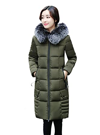 93c294c1323 ACVIP Women Winter Warm Faux Fur Collar Hooded Thick Coat Solid Quilted  Jacket (China M