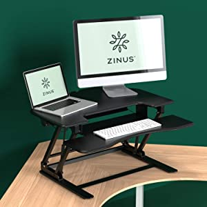Zinus Betsy Smart Adjust Corner Standing Double Desk 36 Inch