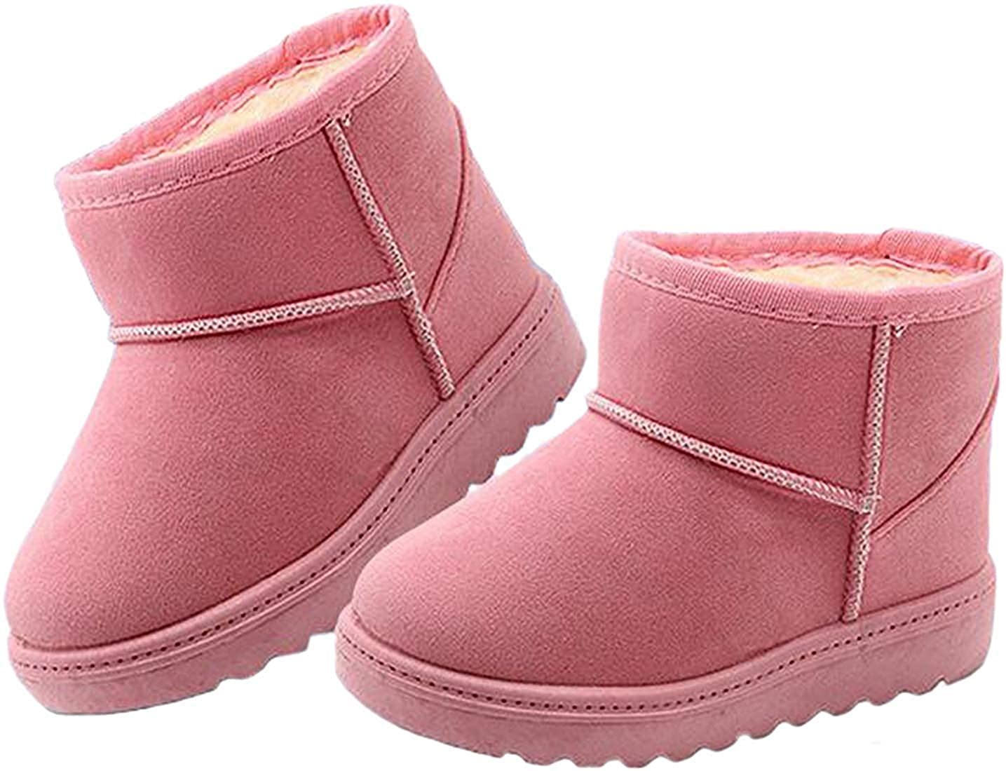 Toddler//Little Kid MOREMOO Boys Girls Outdoor Skidproof Fur Lining Warm Snow Boots