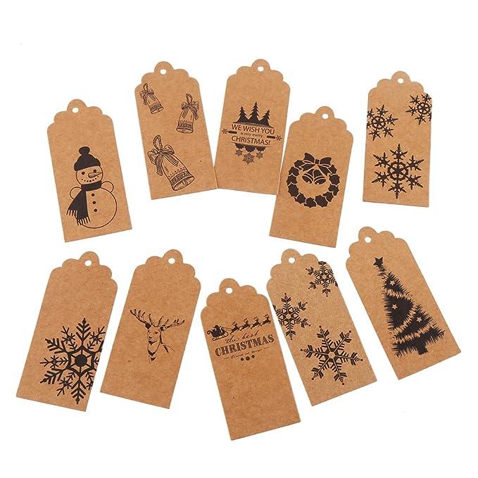 Decora - Pack de 120 etiquetas de regalo de Navidad - 10 diferentes diseños de Navidad las etiquetas de regalo: Amazon.es: Juguetes y juegos