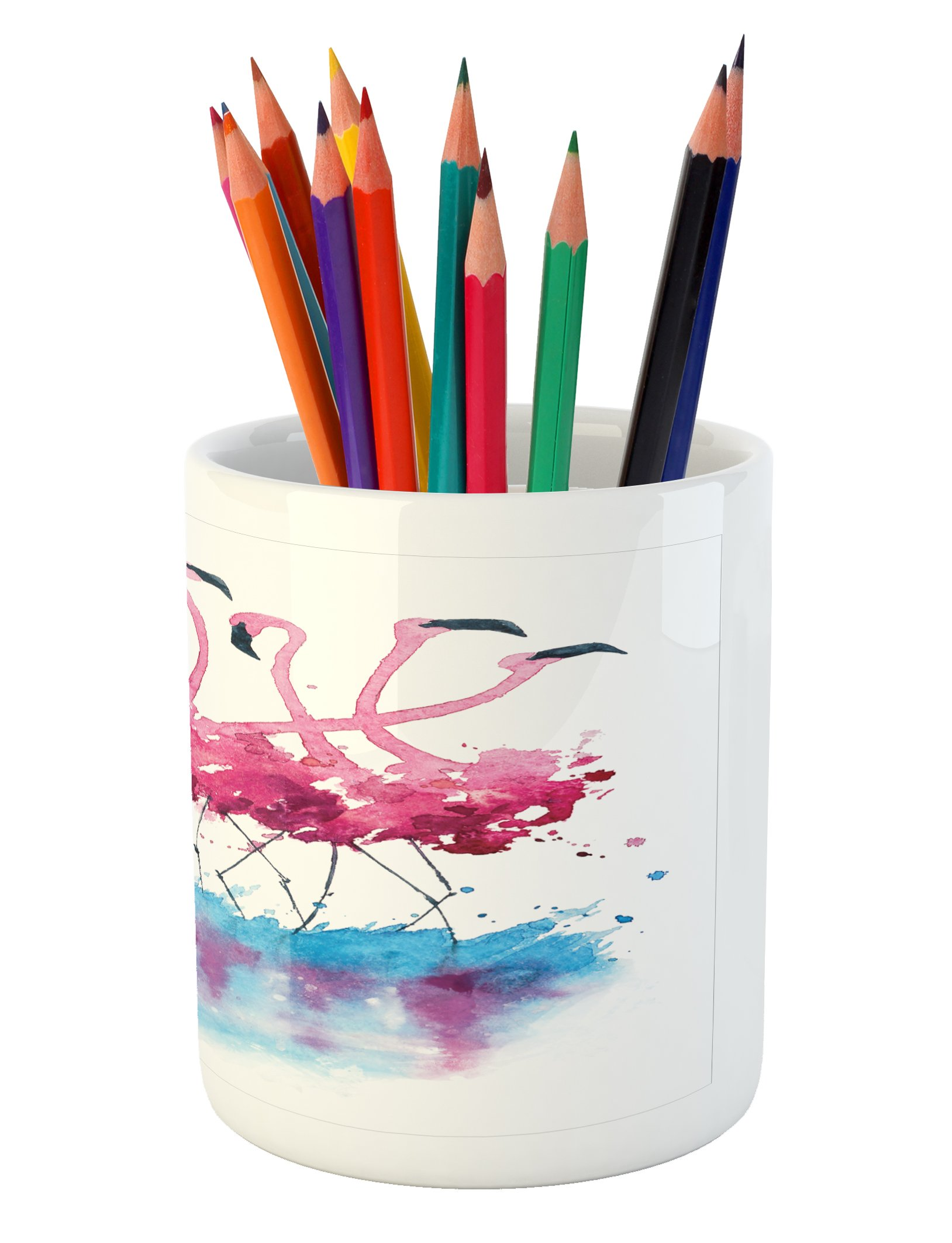 Ambesonne Animal Pencil Pen Holder, Flamingos Love Birds Feather Romance Brushstroke Splash Watercolor Effect, Printed Ceramic Pencil Pen Holder for Desk Office Accessory, Pink Blue Purple by Ambesonne (Image #3)