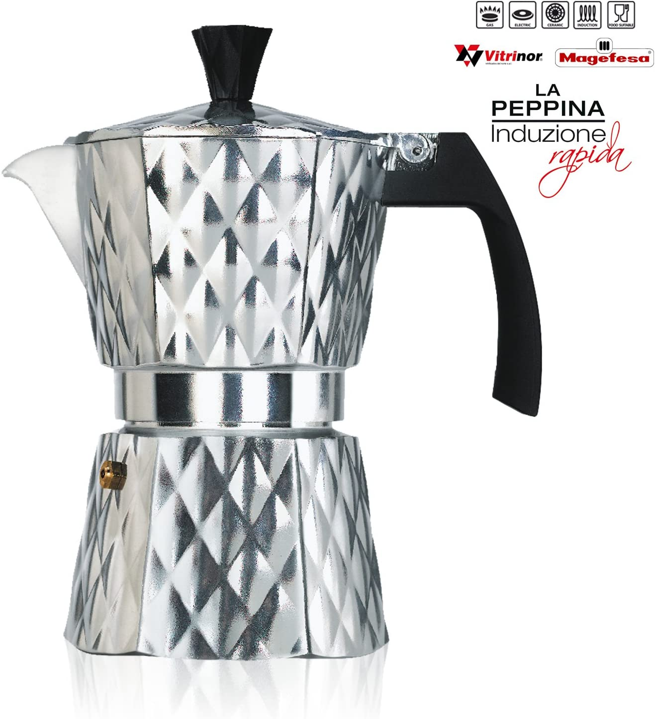 Vitrinor Peppina - Cafetera Italiana de aluminio rápida, diseño, 6 ...