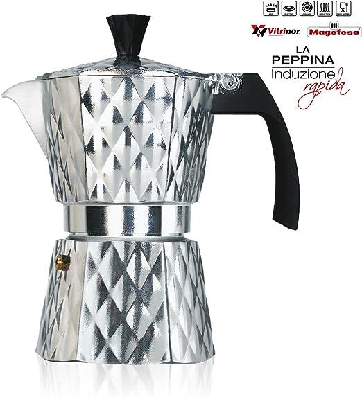 Vitrinor Peppina - Cafetera Italiana de aluminio rápida, diseño, 3 ...