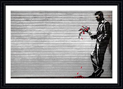 Amazon.com - Alonline Art - New York Waiting In Vain Banksy Black ...