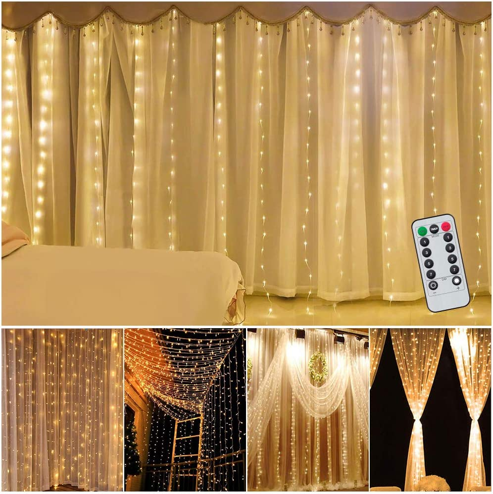 Curtain Lights 9.8ft×9.8Ft/3M×3M USB Powered 300 LEDs 8 Modes Fairy Lights Warm White Waterproof String Lights for Christmas, Wedding, Party, Bedroom 9.8*9.8ft Curtain String Lights
