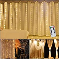 XINKAITE Curtain Lights 9.8ftÃ-9.8Ft/3MÃ-3M USB Powered 300 LEDs 8 Modes Fairy Lights Warm White Waterproof String…