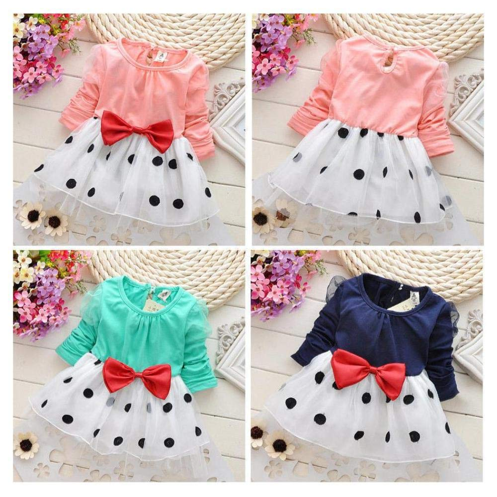 FidgetGear Children Girl Kids Baby Pretty Bowknot Top Polka Dot Dress Tutu Clothing 0-24M