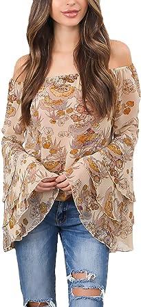 Mujer Blusa De Carmen Primavera Verano Elegantes Trompeta Manga Off Shoulder Camisas Chiffon Anchos Modernas Casual Fashion Cómodo Impresión Camisas Camisa De Manga Larga Shirts Casuales: Amazon.es: Ropa y accesorios