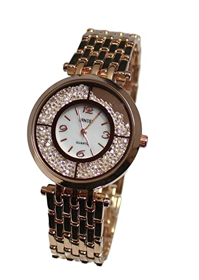 Reloj mujer Ernest Gold rosa brillantes pulsera, color cobre