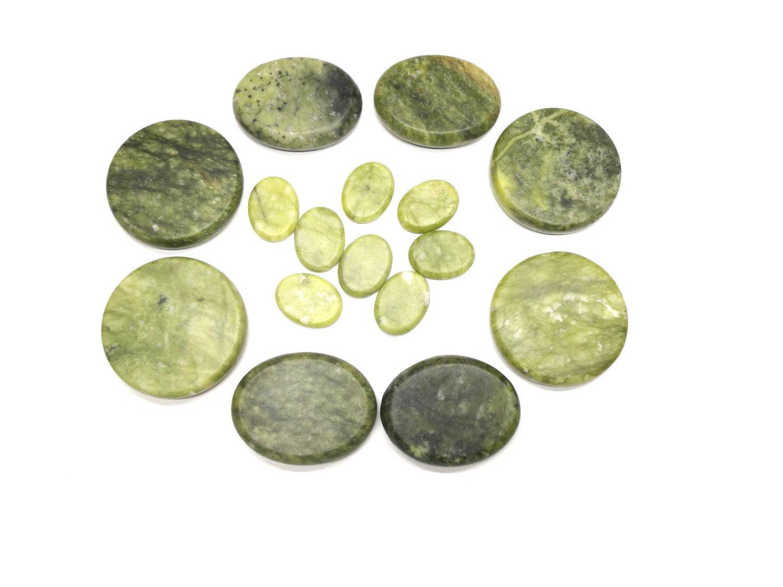Windfulogo 16Pcs Large Hot Massage Stones Set Natural Green Jade Heated Warmer Stone for Spa Massage 886834 by Windfulogo (Image #3)