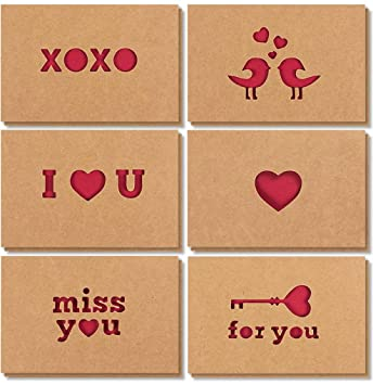 Amazoncom 12 Pack Romantic Kraft Love Greeting Cards In 6 Assorted