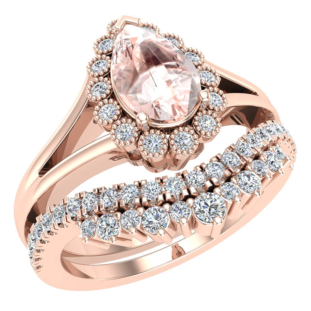 Pink Morganite Engagement Ring 14K Rose Gold Bridal Wedding Set 8 mm Pear center 1.45 Carat Total Weight (Ring Size 6)