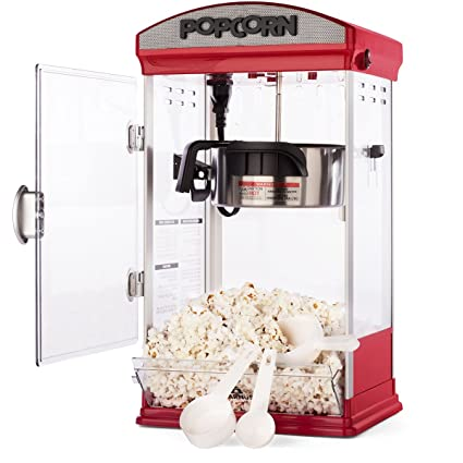 amazon com: carnus home popcorn machine | features popcorn maker with  popcorn scoop, measuring cup, & butter spoon | 4 ounce kettle popper:  kitchen & dining