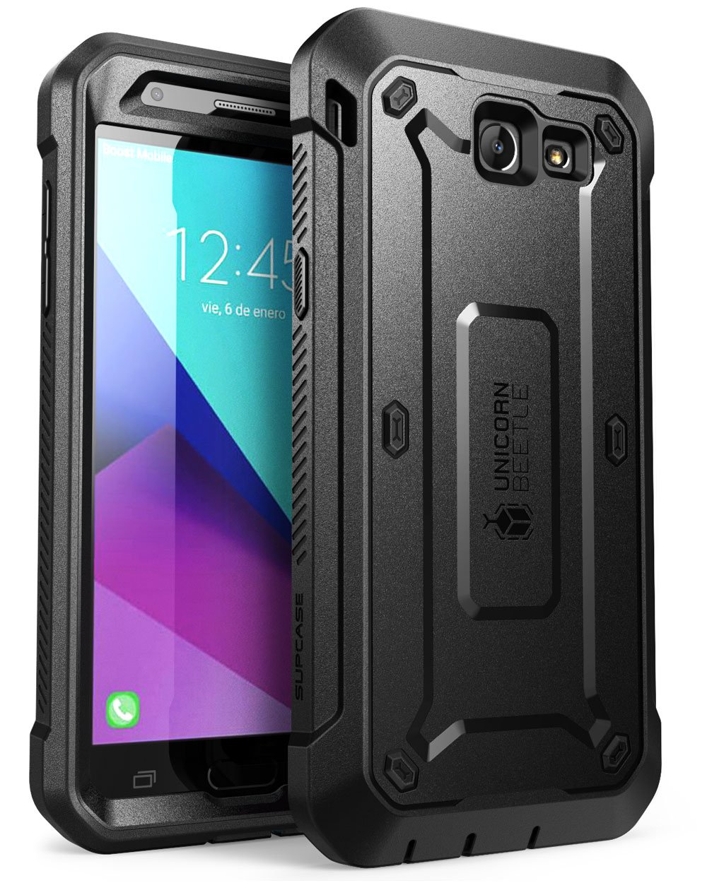 SupCase Samsung Galaxy J7 2017, Galaxy Halo Case, [UB Pro Series] Full-Body Rugged Holster with Built-in Screen Protector for Galaxy Halo/J7 2017 (SM-J727), Not fit J7 2018 (SM-J737) (Black) by SupCase
