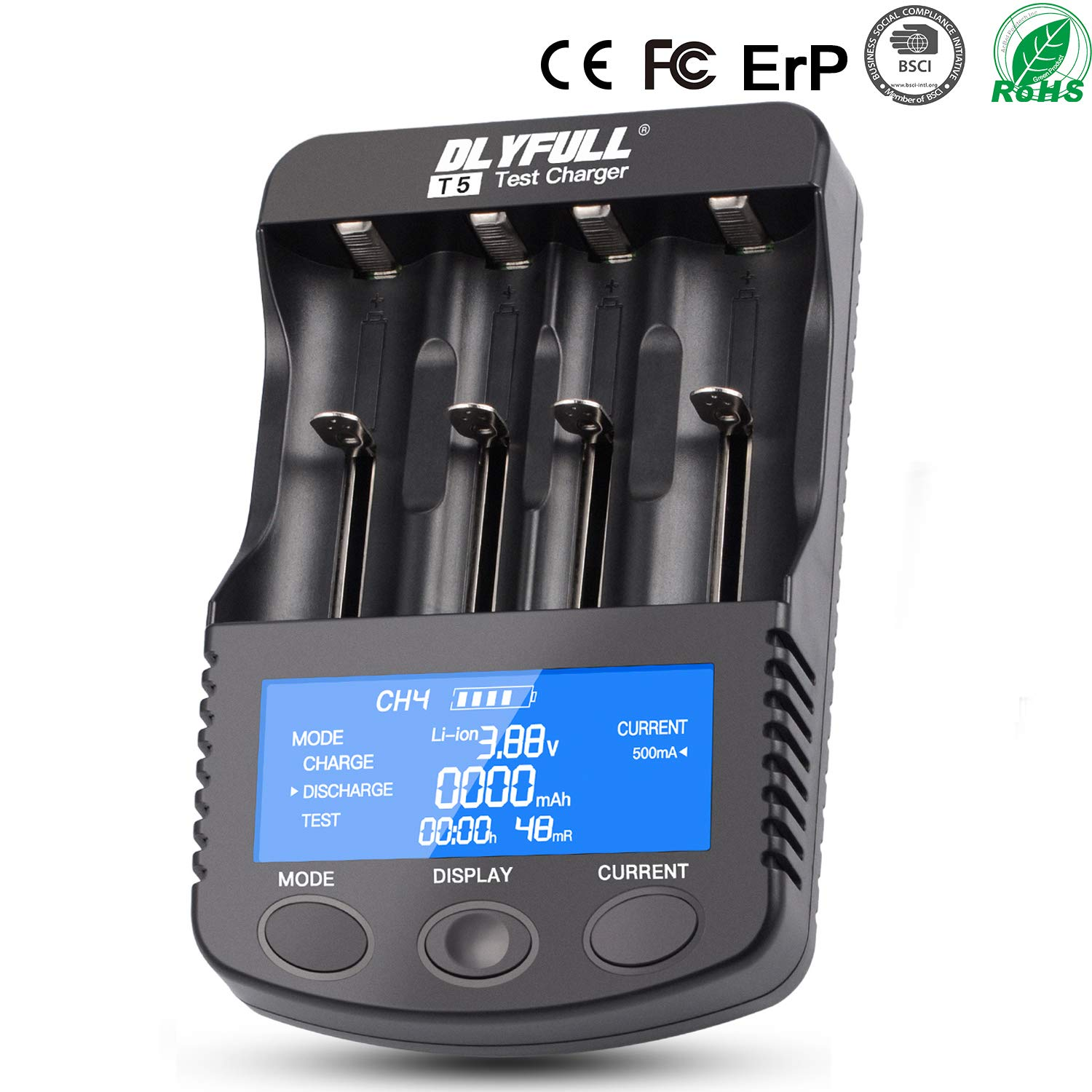 18650 Smart Battery Charger Universal Intelligent Charger LCD Display for 26650 18350 17670 18700 21700 20700 Li-ion IMR INR ICR Ni-MH Ni-Cd AAA AA ...