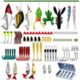LASOCUHOO Fishing Lures Kit Set, (94Pcs) Spoon Lures, Soft Plastic Worms, Topwater Frog Lures, Fishing Lure for Bass, Trout,