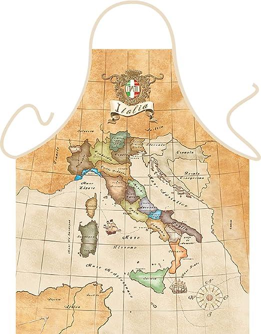 Italia Schürze mit Landkarte Italien mit Urkunde Schürze