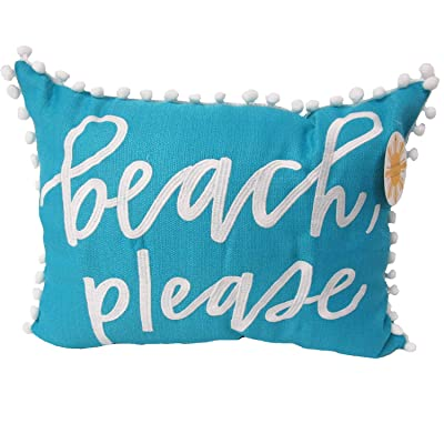 Beach, Please Indoor/Outdoor Embroidered Pillow, Set of 2 : Garden & Outdoor