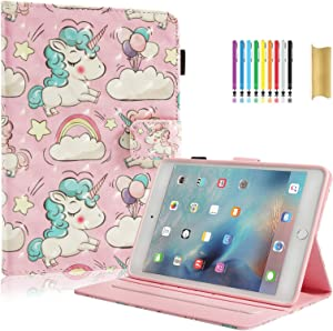 "Dteck iPad Air Case, iPad Air 2 Case, iPad 9.7 Case 2017/2018 - PU Leather Flip Stand Smart Wake/Sleep Case with Pencil Holder for iPad Air 9.7"" 2018/2017 Model (6th Gen, 5th Gen), Rainbow Unicorn"