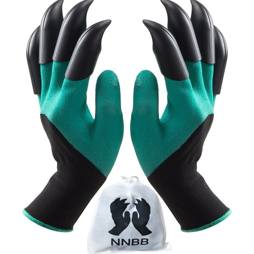 NNBB Garden Gloves with Fingertips Claws Quick– Great for Digging Weeding Seeding poking Safe for Rose Pruning –Best Gardening Tool Best Gift for Gardeners Double Claw
