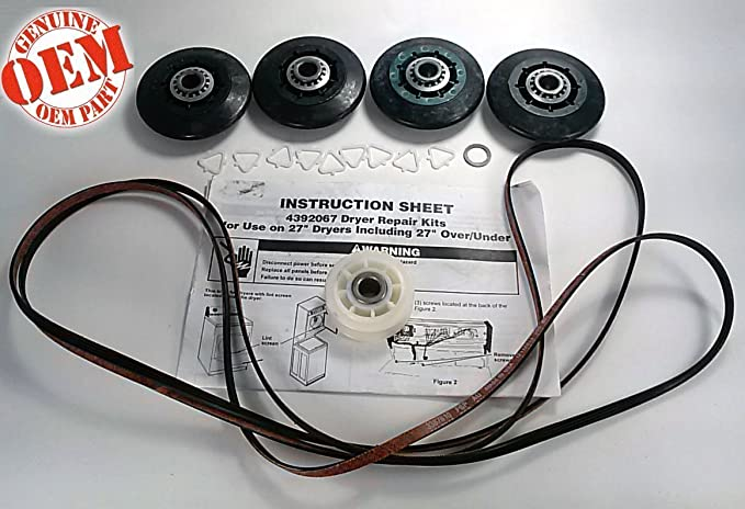 PS373088 NEW FACTORY ORIGINAL OEM FSP WHIRLPOOL KENMORE MAYTAG ROPER ESTATE  KITCHENAID MAGIC CHEF CLOTHES DRYER REPAIR KIT ( Includes (1) 661570 Belt