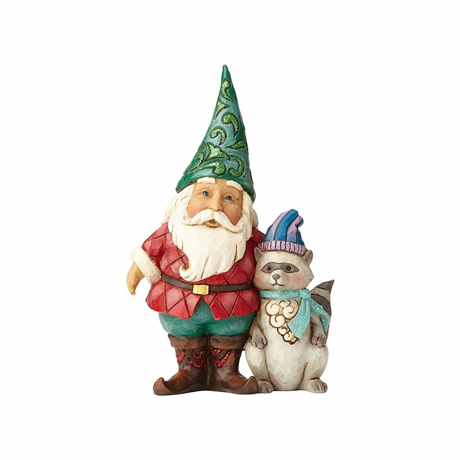 Jim Shore for Enesco Heartwood Creek Gnome with Winter Wonderland Raccoon Figurine