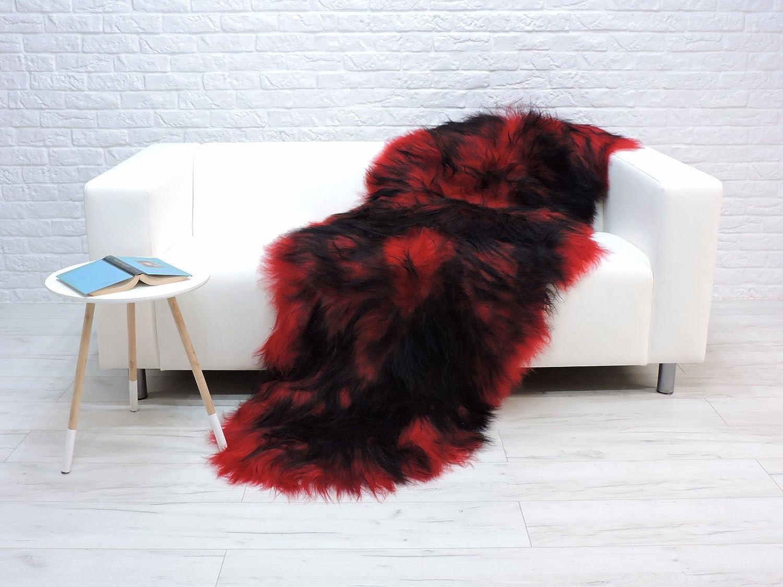 World of Sheepskins Alfombra de Doble Piel de Oveja de Color Rojo y Negro RBD