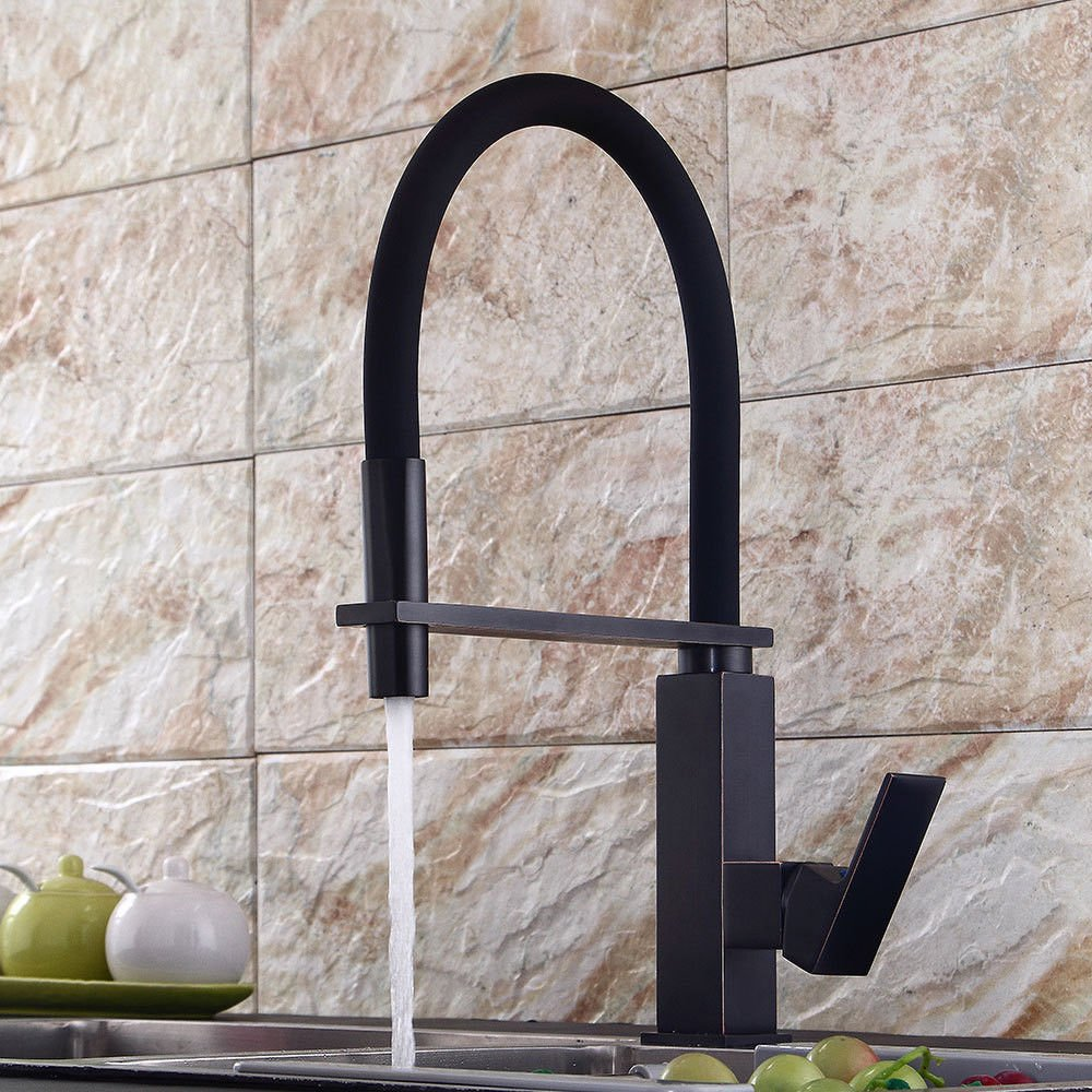 Modern simple copper hot and cold kitchen sink taps kitchen faucet Black kitchen faucet black ancient sink hot and cold mixing valve redating bowl sink spring faucet Suitable for bathroom kitchen
