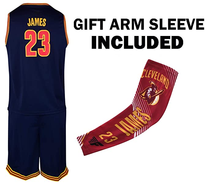 outlet store 7d633 90287 James Navy Lebron Kids Basketball Jersey Shorts Youth Gift Set with Arm  Sleeve