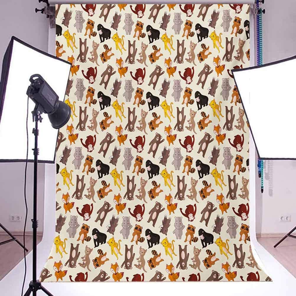 Collection of Friendly Jungle Animals Happy Mammals Life in Forest Background for Kid Baby Boy Girl Artistic Portrait Photo Shoot Studio Props Video Drape Vinyl 10x15 FT Photography Backdrop