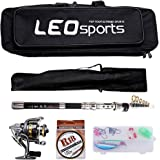 OUTLIFE Fishing Tackle Kit with Spinning Rod Reel Combos Line Lures Hooks Travel Bag, for Sea Saltwater Freshwater Boat Fishing, Starter Professional Full Set