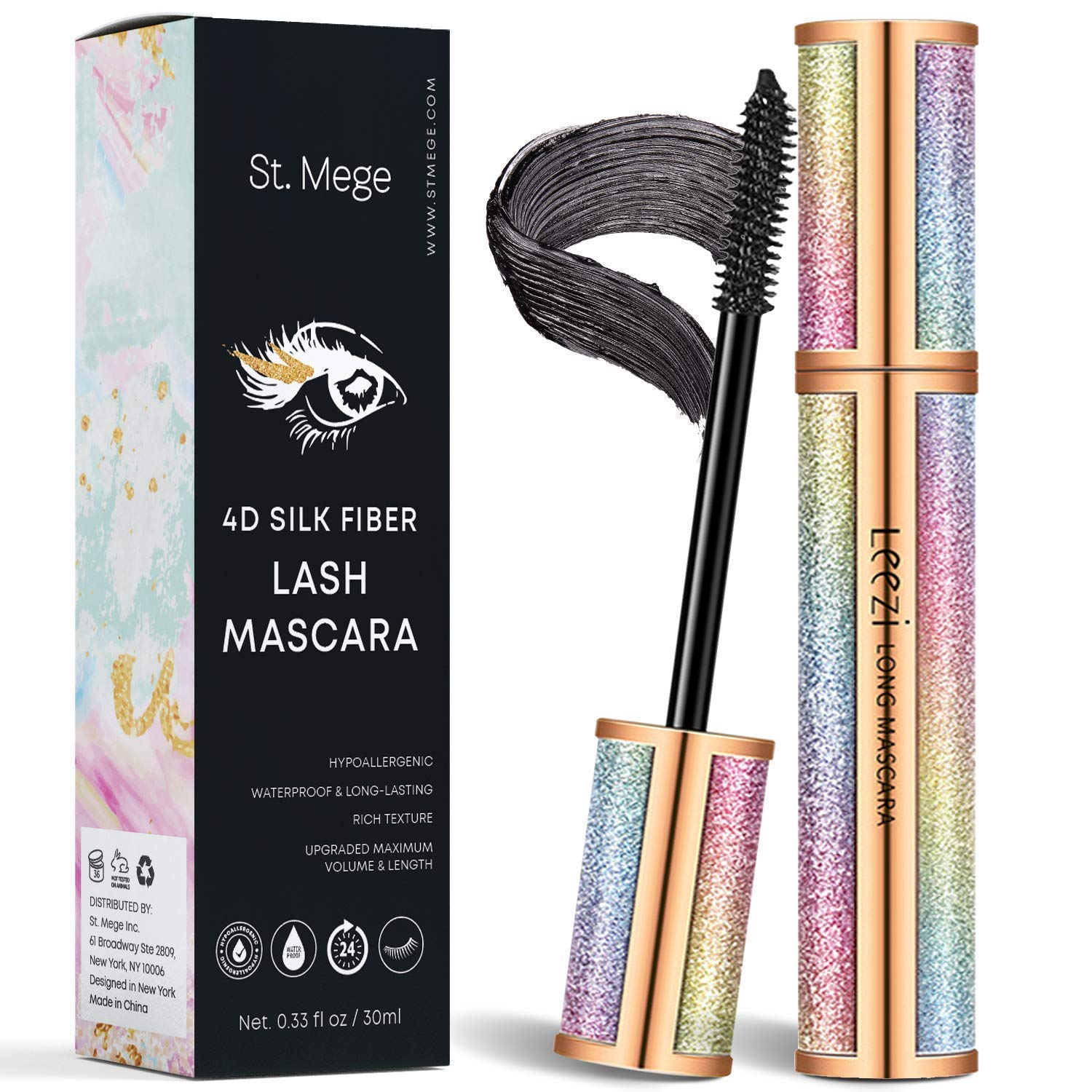4D Silk Fiber Lash Mascara for Longer, Thicker, Voluminous Eyelashes,Natural Waterproof Smudge-Proof, All Day Exquisitely Lush, Full, Long, Thick, Smudge-Proof Eyelashes (Black)