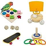 Bird Toys For Parakeets,5pcs Parrot Toys Set (Include Bird Basketball Toy、Bird Skateboard、Bird Stacking Toy、Parrot Wooden Blo