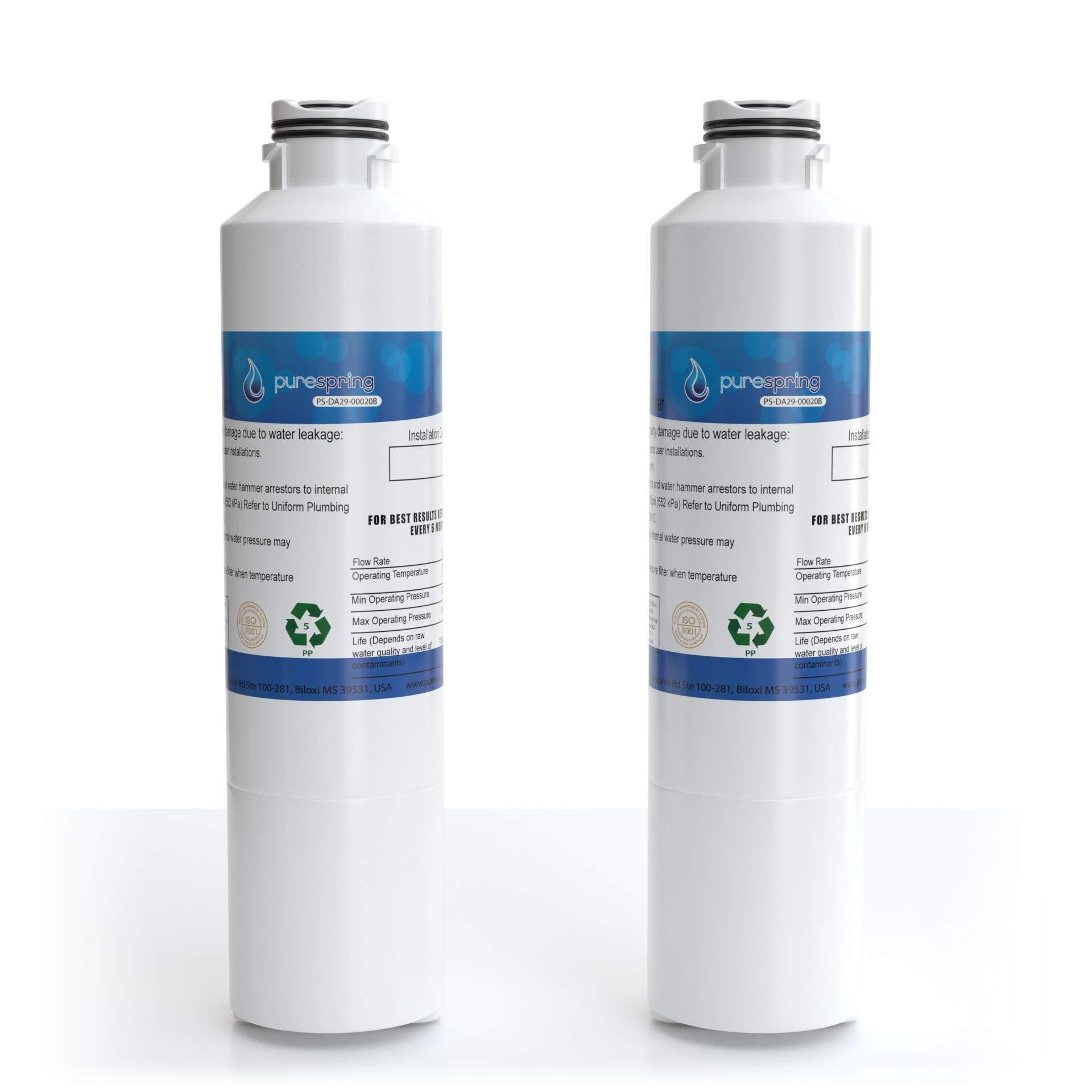 PureSpring Samsung-DA29-00020B Refrigerator Water-Filter Compatible Cartridge - Replaces Samsung DA29-00020B, DA29-00020A, HAF-CIN/EXP, Kenmore 46-9101 (2 Pack)