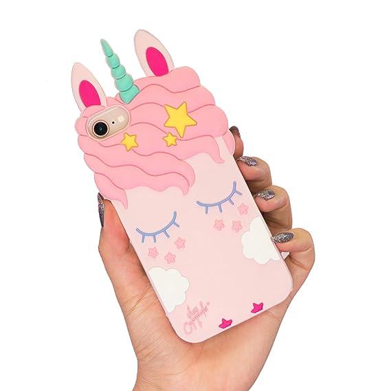 half off 98d2d 053db Amazon.com: Unicorn iPhone Case 3D Cute Animal Soft Silicone Rubber ...