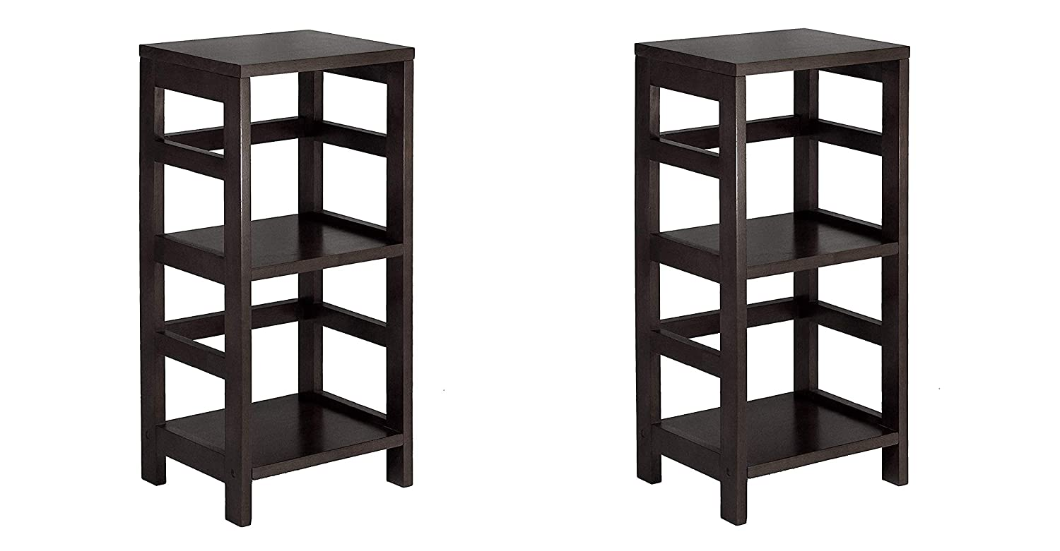 Winsome Wood 92314 Leo Model Name Shelving Tall Espresso (Pack of 2)