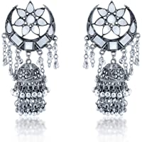 Yellow Chimes German Silver Oxidized Mirror Work Afghani Stylish Ghunghru Traditional Jhumki Earrings for Women & Girls
