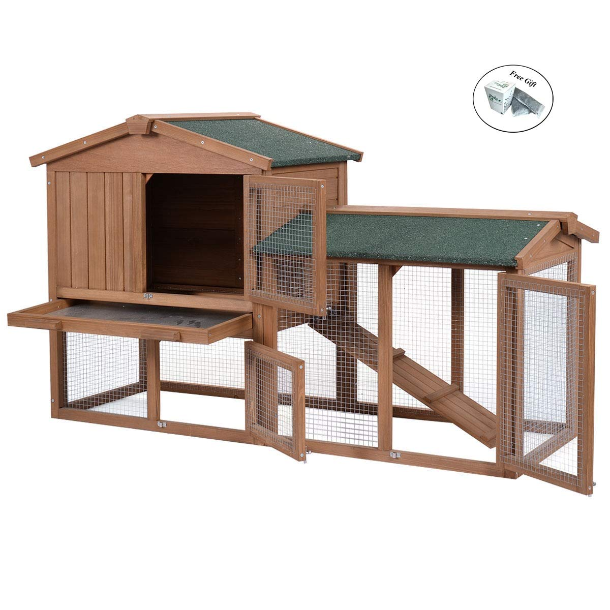 Eight24hours 58'' Large Wooden Rabbit Hutch Chicken Coop Bunny Animal Hen Cage House Run Only