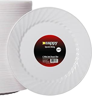 Zappy 100 6 Inch Plastic Dessert Plates Premium Quality Heavyweight Disposable Plastic Plates Hard Plastic  sc 1 st  Amazon.com & Amazon.com: Myhouse 10pcs/Set Disposable Plates 7-inch Colorful ...