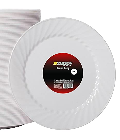 Zappy plástico desechables platos aperitivo, postre, ensalada plato llano blanco Swirl Diseño
