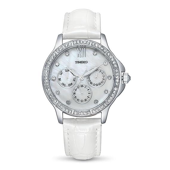 Time100 W70135L.01A Reloj cuarzo elegante con diamantes brillantes reloj con tres esferas pequeñas para