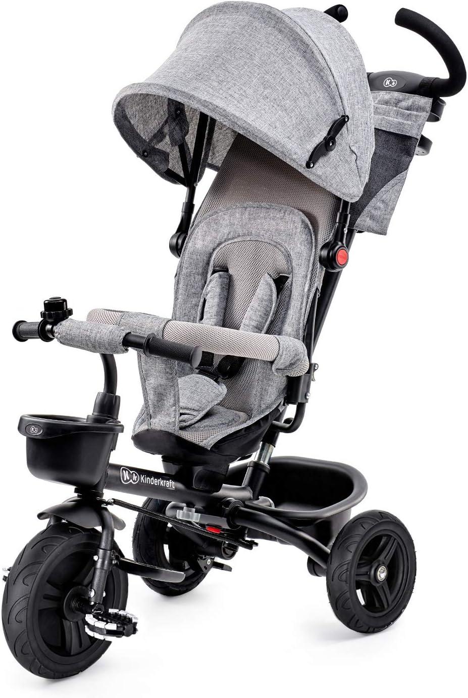 Kinderkraft Triciclo Plegable AVEO, Asiento Giratorio, Hasta 5 Años, Gris