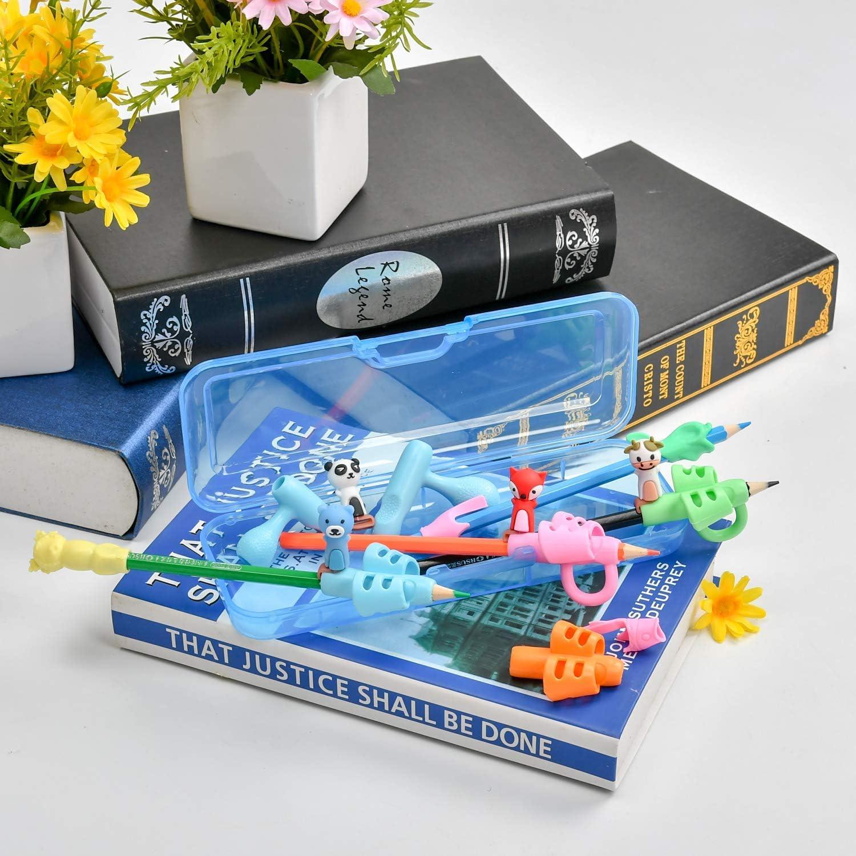 16 St/ück Stifthalter f/ür Kinder,ergonomische Schreibhilfe Haltungskorrektur f/ür Kinder,bei Autismus auch f/ür Erwachsene,bei besonderen Bed/ürfnissen,f/ür Rechts- oder Linksh/änder Blaue Federtasche