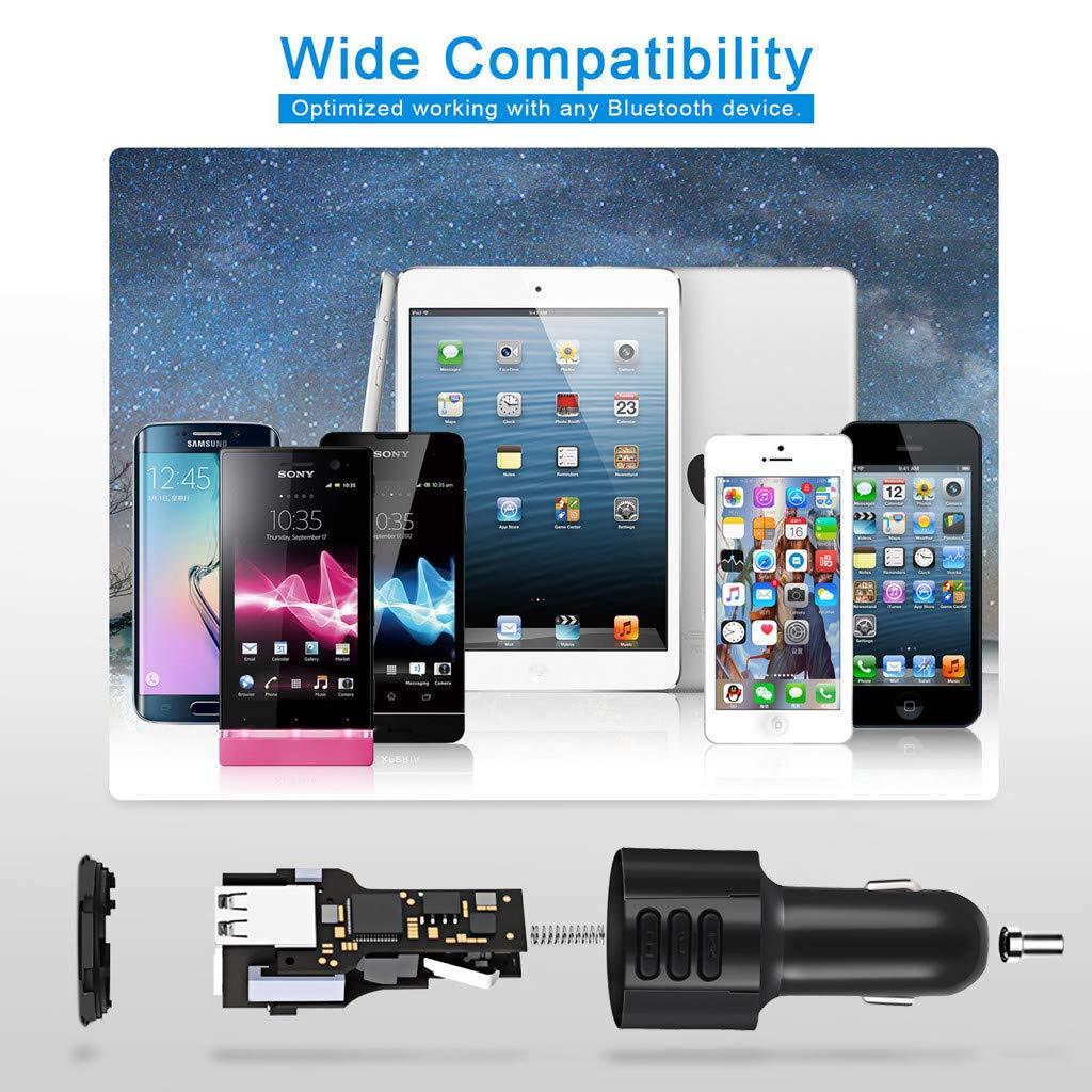 Vaycally Transmetteur FM Bluetooth Transmetteur Radio Kit Mains-Libres pour Voiture Adaptateur Audio de Voiture Lecteur MP3 Chargeur de Voiture avec Port USB QC3.0 Support daffichage /à LED Prise e