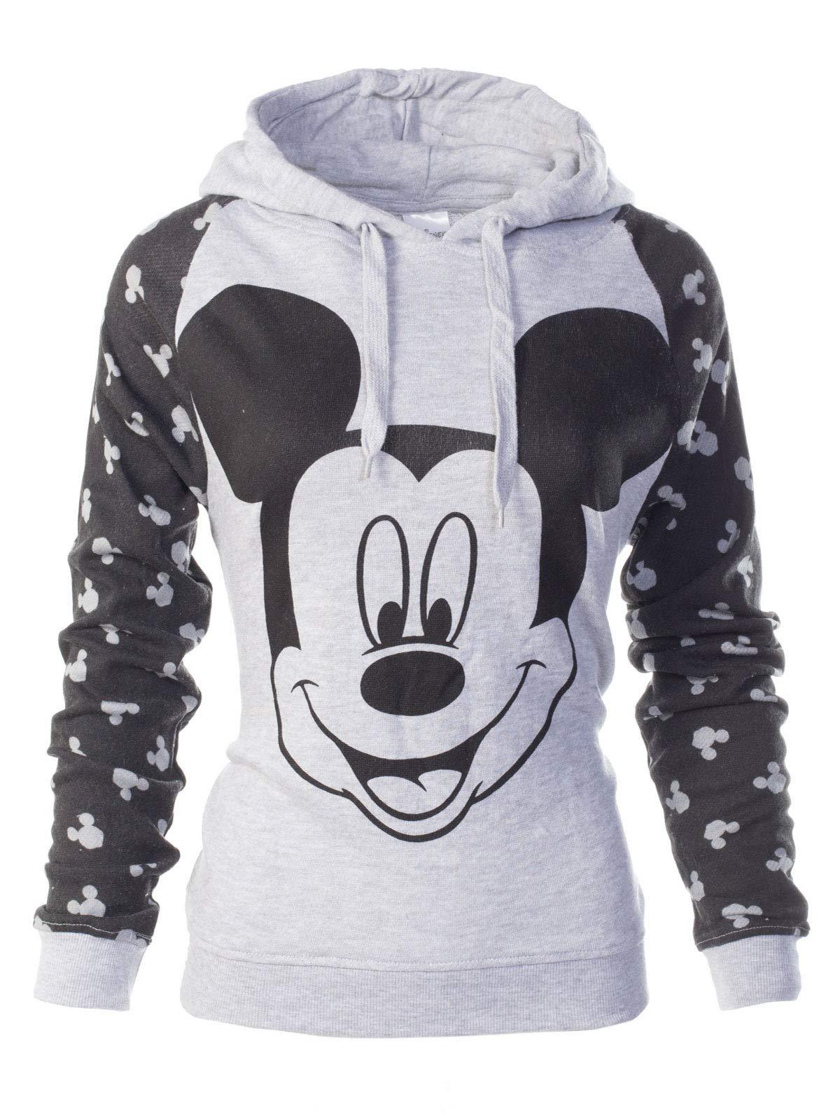Instar Mode Women's Mickey Face with Black Long Sleeve Hoodie Sweatshirt Heather Grey S