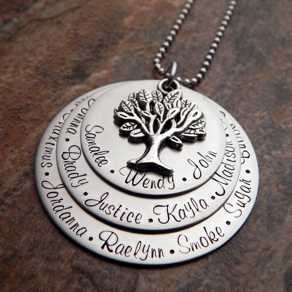 fa9a011e8ca53 Grandmother's Family Tree Necklace | Grandmother Necklace Personalized |  Your Choice of Font and Chain Type | Stainless Steel