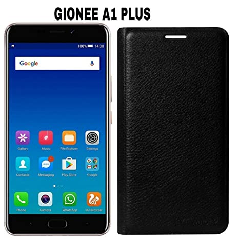 separation shoes 18716 a4d05 AVICA® Premium Leather Flip Cover for Gionee A1 Plus - Black