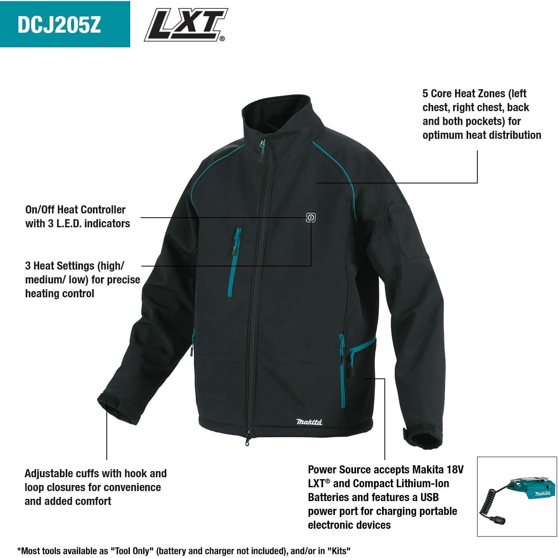 Makita DCJ205ZL Battery-Powered Thermal Jacket Size L